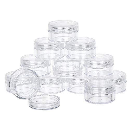 BENECREAT 36 Pack 3ml Cajita de Almacenamiento de Cuentas de Plástico Contenedor Transparente Vacío con Tapas de Rosca Redondeadas para Cuentas, Decoración de Uñas, Purpurina y Crema de Viaje