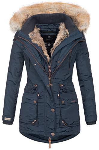Marikoo Damen Winterjacke Kapuze Kunstfell Winter Jacke warm lang B617 [B617-Grinse-Navy-Gr.S]