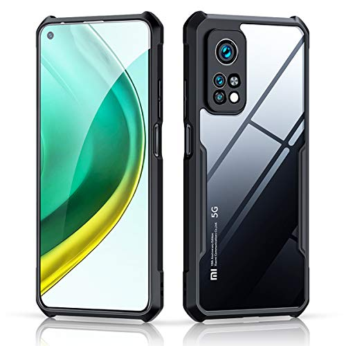 """Xundd Case for Xiaomi Mi 10T/ Xiaomi Mi 10 Pro 5G (6.67"""") with Integrated Camera Cover, [Military Grade Drop Tested] Slim Clear Back with Shockproof Soft TPU Bumper Frame Cover - Black"""