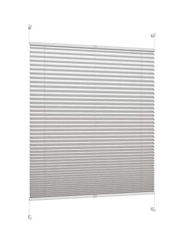 DecoProfi PLISSEE grau, verspannt, Breite 75cm x 130cm (max. Gesamthöhe Fensterflügel), mit Klemmträger/Klemmfix/ohne Bohren