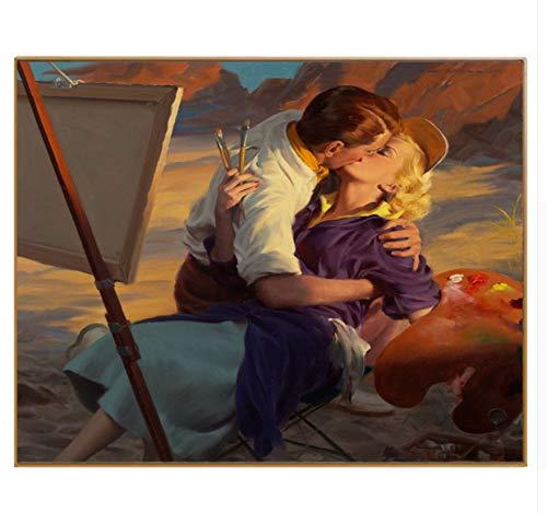 MSCLY Cuadro Figura Pintura Beso Para El Amor Cuadro Enmarcado Pintura Por Números Decoración Diy Pintura Al Óleo Pintada A Mano Sobre Lienzo