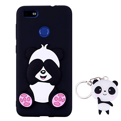 HopMore Panda Funda para Huawei P9 Lite Mini/Huawei Y6 Pro 2017 Silicona con Diseño 3D Divertidas Carcasa Ultrafina Case Antigolpes Protección Cover Dibujos Animados Gracioso con Llavero - Negro