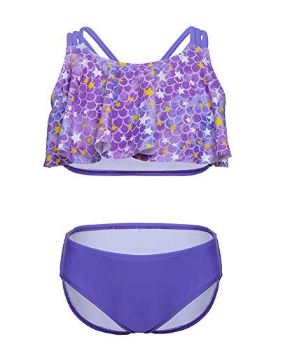 iDrawl Sommer Bikini Set Violett Meerjungfrau Tankini Bademode für Mädchen 12-14 Jahre Alte