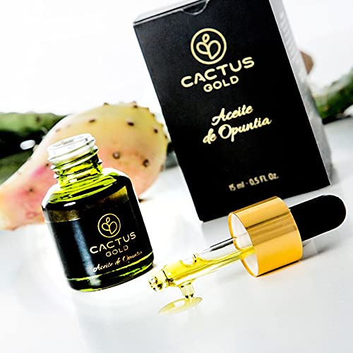 Cactus Gold Aceite De Opuntia | De Semilla De Higo Chumbo | 100% Puro Y Prensado En Frio | Hidratación Profunda Para Cara, Cuerpo Y Cabello, 15 Mililitro