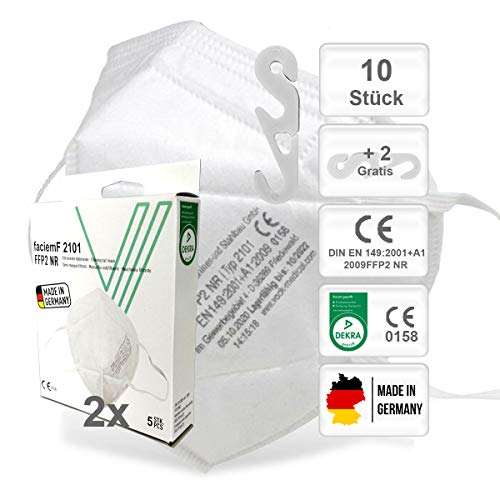 faciemF, 10 Stck. FFP2 Atemschutzmaske, Masken für Mund - und Nasenschutz, Universalmaske als Partikelschutz, DEKRA (0158) CE Zertifiziert, Made in Germany, sofort ab Lager lieferbar (10)