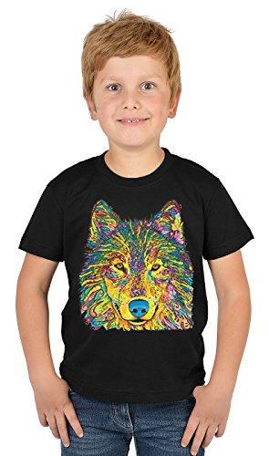 Jungen-Motiv-Shirt/Kinder-Shirt mit Tier-Druck: Wolf - tolles Geschenk- Cooler Look/kräftige Farben