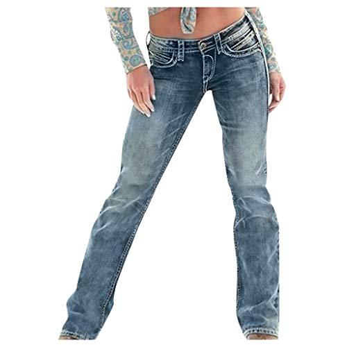 Damen Jeans Stretch Wide Flare Taschenlampen Hippie Vintage Retro Ripped Distressed Jeans Taschenlampen Faded Flared Jeans Damen Jeans Straight Leg Blau XS/S/M/L/XL/XXL/XXXL/XXXXL