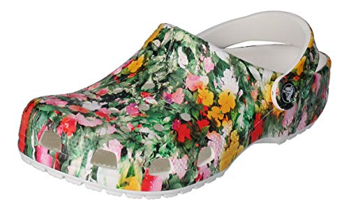 Crocs Unisex-Erwachsene Classic Printed Floral Clogs, Weiß (White/Multi), 37-38