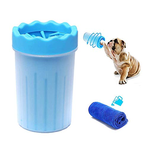 xiaoniubenben Dog Paw Washer Dog Paw Cleaner Pet Paw Cleaner for Dogs Silicone Outdoor Portable Convenient Help Pet Dog Paw Cleaning with Towel Blue