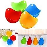 Huevos de Silicona, FANDE 12 Hueveras de Silicona, Silicona Antiadherente, para Huevos Duros, se Pueden Utilizar en Utensilios de Cocina, Vapores, Hornos Microondas (4 Colores)
