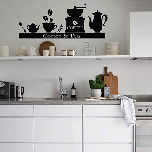 Hkkhkk Vinyl Muursticker Decals Koffiemachine Koffiemachine Thee Cup Houder Plank Keuken Woonkamer Decoratie Art Poster 57X25Cm