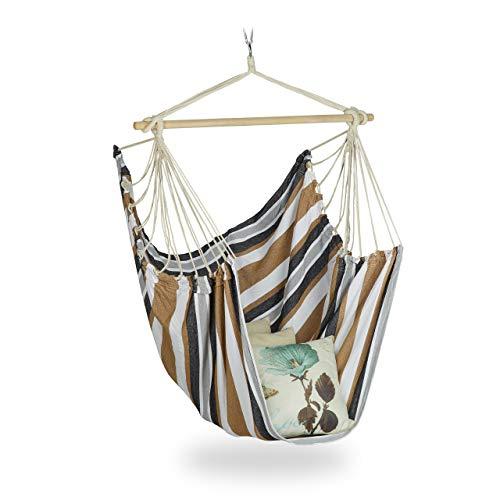 Relaxdays Hamaca XL de algodón, para niños y Adultos, suspensión, para Interiores y Exteriores, 150 kg, Multicolor