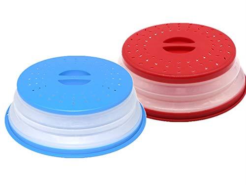 Coperchio per Microonde Coperchio Antischizzi per Microonde,con Fori per la fuoriuscita del Vapore,Non Tossico (Rosso + blu)