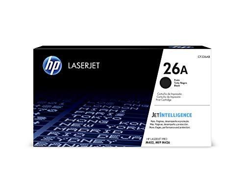 HP 26A CF226A, Negro, Cartucho Tóner Original, de 3.100 páginas, para impresoras HP LaserJet Pro M402dn, M402n, M402d, M426dw, M426fdn, M426fdw, M402dne, M402dw, M402m y M426m