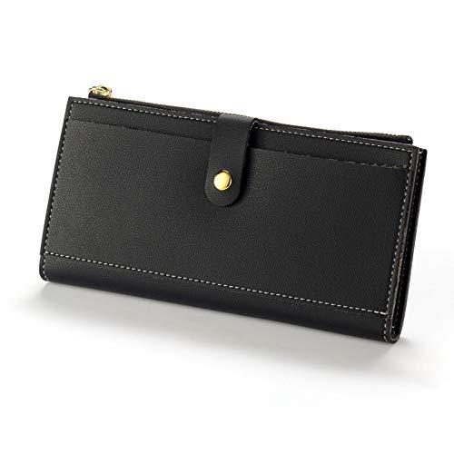 Ai-yixi Klassisches Design Diffuse Leder Geldbörse Frauen Vintage Stil Frauen Geldbörsen Leder Geldbörse Kreditkartenetui Geldtasche Tasche Perfekt wild (Farbe: Schwarz, Größe: Medium)