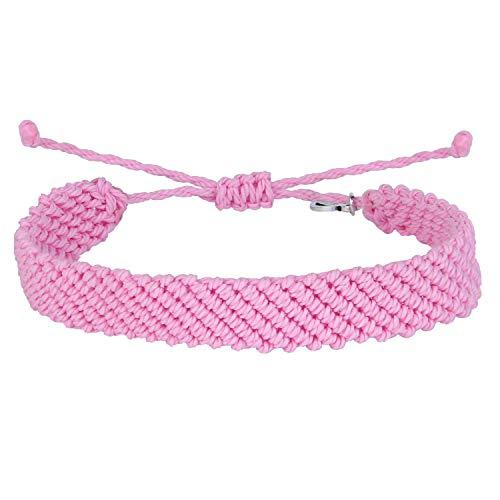 KELITCH Handgefertigt Makramee Farbe Süßigkeiten Breit Böhmen Gewebt Freundschaft Armband Mode Neu Schmuck (Rosa 4K)