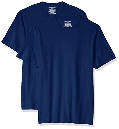 Amazon Essentials 2-Pack Slim-Fit Short-Sleeve Crewneck T-Shirt Fashion-t-Shirts, Azul, US M (EU M)