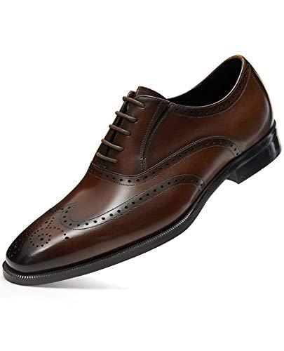 FRASOICUS Mens Dress Shoes Genuine Leather Brogue Oxford Formal Shoes for Men 12 Dark Brown