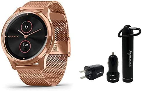Garmin Vivomove 3 Luxe Hybrid Smartwatch and Wearable4U Power Pack Bundle (Navy/Silver, Leather)