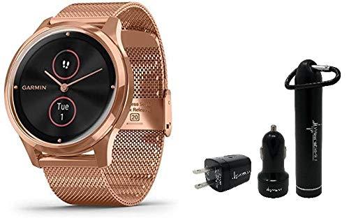 Garmin Vivomove 3 Luxe Hybrid Smartwatch and Wearable4U Power Pack Bundle (18K Rose Gold/Black, Milanese)