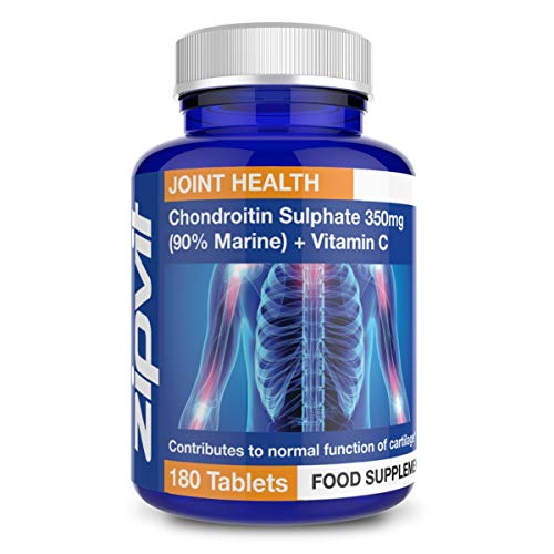 Chondroitin Sulphate 350mg with Vitamin C, 180 Tablets. 90% Pure Marine Chondroitin. Supports Collagen Formation and Cartilage Function.