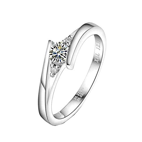 Bishilin Anillo Mujer Pt900 Anillo de Compromiso de Platino, Diamante Redondo de...