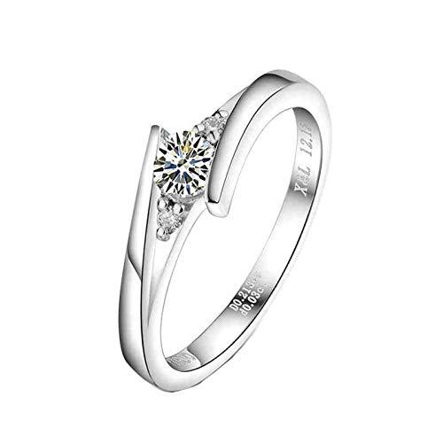 Daesar Anillos Compromiso Mujer PT900 Platino,Redondo Simple Diamante 0.2ct y 0.03ct,Plata Talla 25