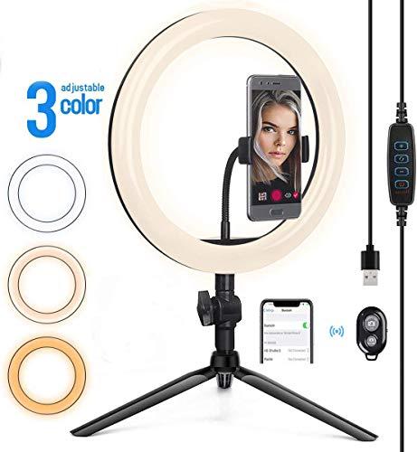 SIEGRICH LED Selfie Ringlicht Ringleuchte Stativ mit Handyhalter und Fernbedienung schöne Fotos oder Videosschooting, live Streaming, Portrait, schminken Live Licht 10.2 Zoll
