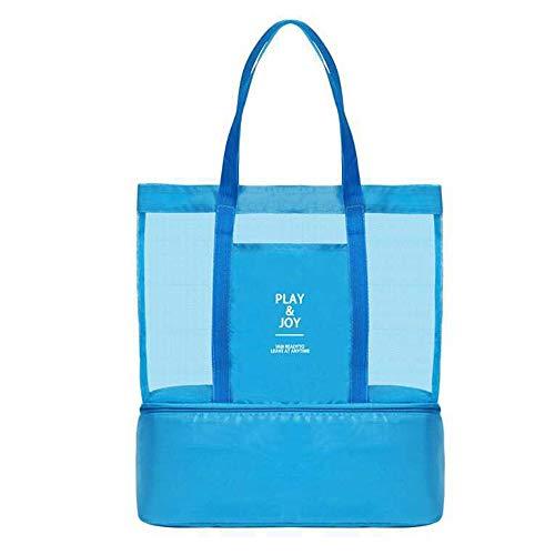 Amaoma Badetasche Familie Badetaschen Strandtaschen mit Wasserdichtem Kühlfach Hoch Kapazität Reißverschluss Picknicktasche für Reise oder Ausflug mti Kindern Beachbag Urlaubstasche Blau