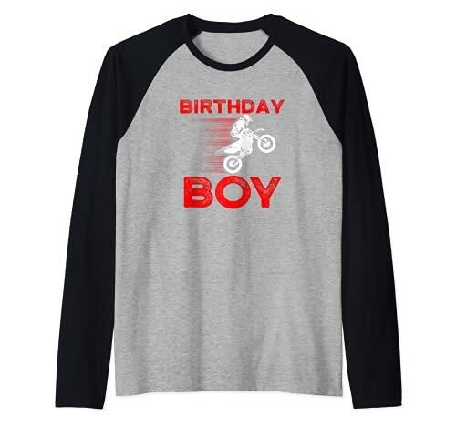 Cumpleaños Niño I MX I Motocicleta I Motocross Camiseta Manga Raglan