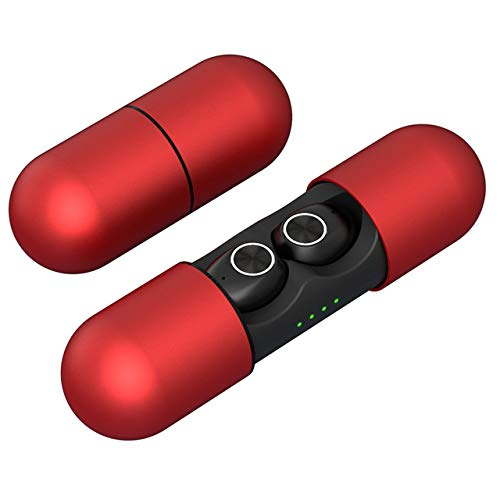 Yiwa V8 TWS True Bluetooth hoofdtelefoon, draadloos, 5.0 met laadvak, zonder vertraging, HD-oproep, microfoon, SweatProof, Rood