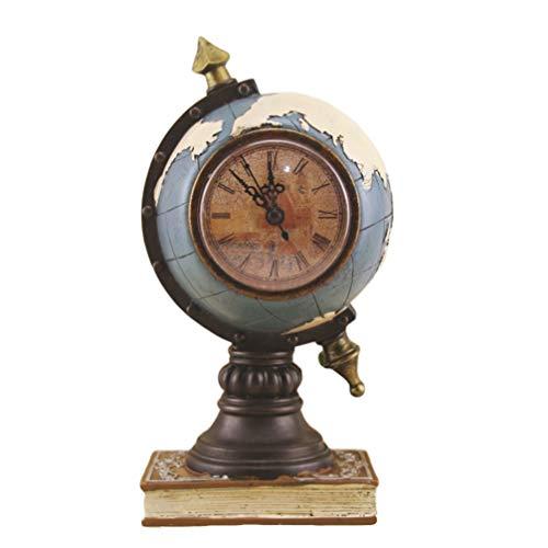 MILISTEN Esfera Globo Vintage Reloj Esférico Astrolabio Brújula Vintage Escultura de Escritorio sin Batería Azul