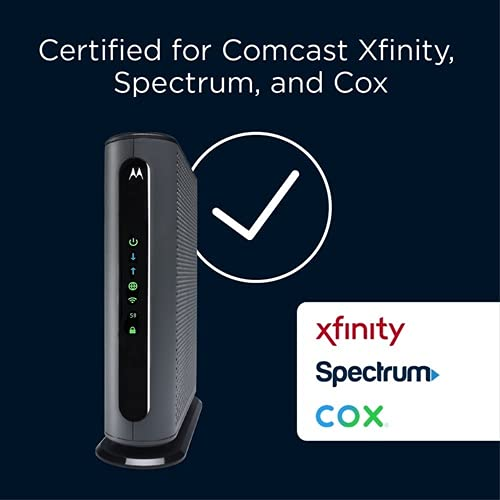 Motorola MG7700 Modem WiFi Router Combo with Power Boost   Approved by Comcast Xfinity, Cox and Spectrum   for Cable Plans Up to 800 Mbps   DOCSIS 3.0 + Gigabit Router