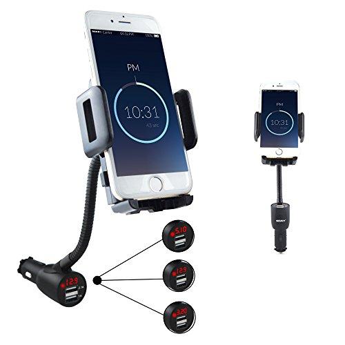 SOAIY 3 in 1 Supporto d'Auto per Cellulare con Doppia USB e Braccio Regolabile, Supporto per IPhone, Samsung e Maggior...