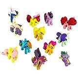 Outland Collezione Little Pony o Cake Topper (12PCS) by Decorazione Festa di Compleanno per Bambini, Pony Figurine per Ragazzi e Ragazze, Disegno Cavallo Giocattoli per Cupcakes, Ornamenti Cute Pony