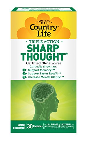 Country Life Triple Action Sharp Thought PS-DHA & PS Phosphatidylserine-Docosahexaenoic - Support for Memory, Increased Mental Clarity, Faster Recall & Brain Health - Gluten-Free - 30 Capsules