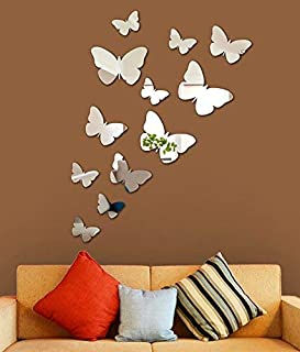 Atulya Arts 3D Butterflies Acrylic Sticker Decorative Mirror Wall Stickers for Bedroom Home & Office (Silver) - Pack of 12