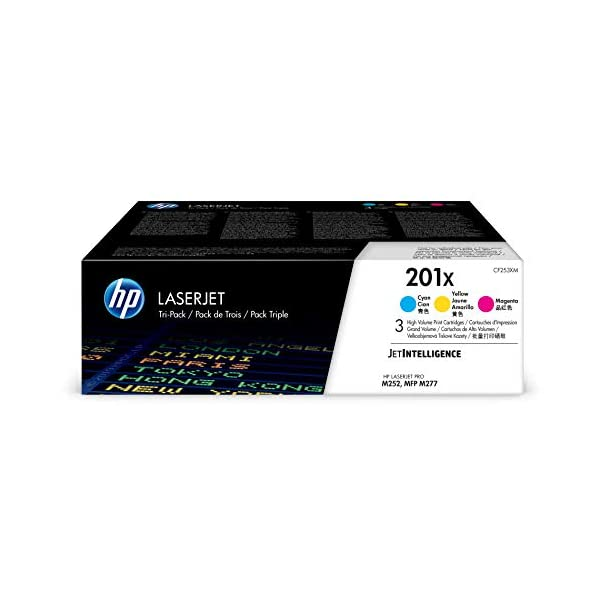 HP 201X | CF401X, CF402X, CF403X | 3 Toner Cartridges | Cyan, Yellow, Magenta | High Yield
