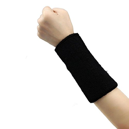 Qaintter56 Unisex Sports Sweat Tape Wristband; Basketball Tennis Gym Yoga arm Tape (schwarz)