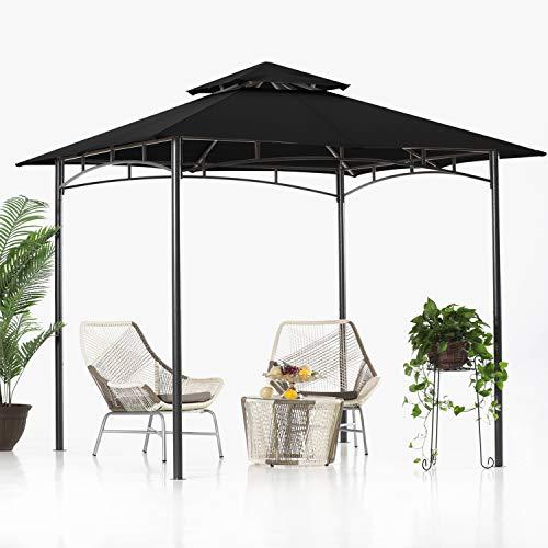 ABCCANOPY 2.5x2.5m Patio Pavillon für Patios Doppeldachweichdach Garten Hinterhof-Pavillon für Schatten und Regen,Schwarz