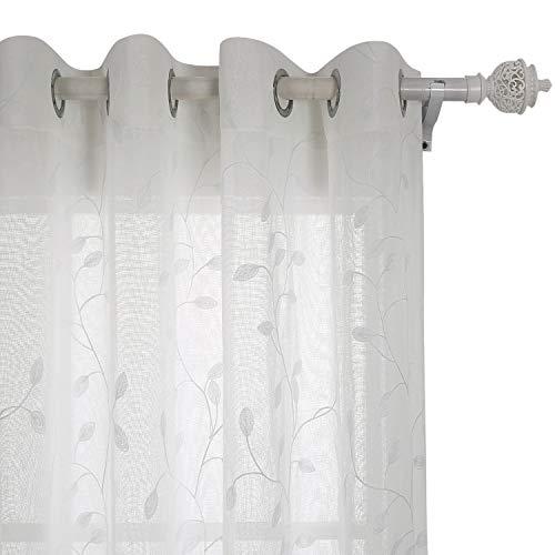 Deconovo Cortina Moderna Visillos para Dormitorio Translúcidas Cortin