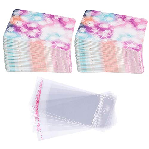 Earring Cards Set, 100 Pcs Paper Earring Display Cards with 100 Pcs Self-Seal Bags, Fashion Colorful Card Holder Organizer Tags DIY Handmade Packing Cards for Earring Stud Necklace (Starry)
