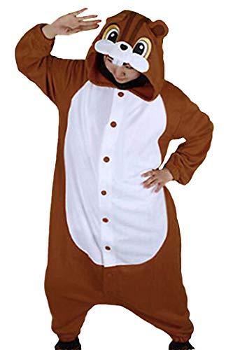 wotogold Pijamas de Ardilla Animal Trajes de Cosplay Adultos Unisex Brown