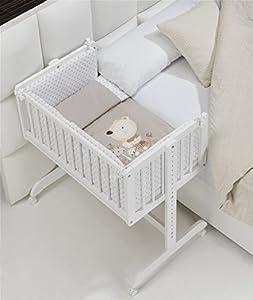 MINICUNA COLECHO COMPLETA. Incluye: Edredon desmontable con relleno + Cojín almohada + 2 Protectores con cremallera + Colchón minicuna + 4 ruedas con freno