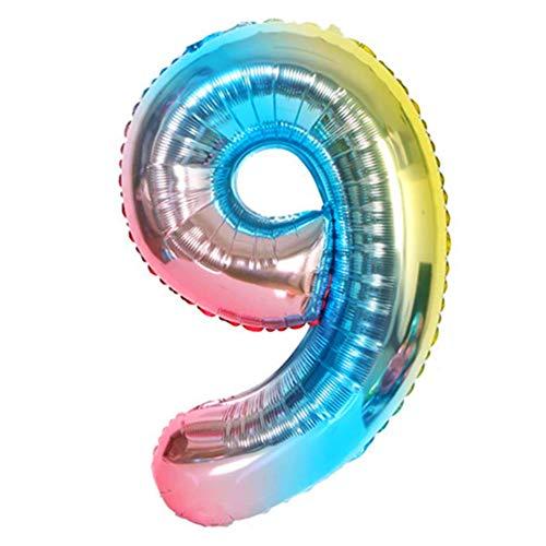 DIWULI, XL Zahlen-Ballons, Zahl 9, blau bunt Schillernde Regenbogen Luftballons, Zahlenluftballons, Folien-Luftballons Nummer Nr Jahre, Folien-Ballons 9. Geburtstag, Party, Dekoration, Geschenk-Deko