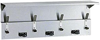 Bobrick 239x34 304 Stainless Steel Utility Shelf with Mop/Broom Holders and Rag Hooks, Satin Finish, 34
