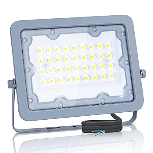 Aigostar Focos Led Exterior, 30W 6500K LED Floodlight Exterior, luz de inundación para exteriores de 2700LM a prueba de agua IP65 para patio, jardín, garajes