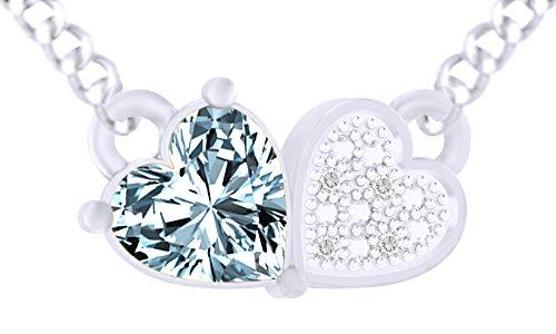 925Sterling Silber Simuliert Aquamarin & Weiß Zirkonia Love Herz Anhänger Halskette für Frauen Mädchen ('18Karat Weiß Vergoldet)