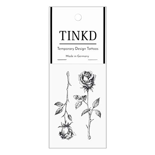 TINKD Klebe-Tattoo Rose | Blumen-Tattoo in schlichtem Schwarz | Made in Germany
