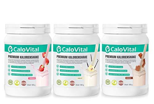 Vollwertiger Mahlzeitenersatz | Kalorien Shake zum zunehmen | mit vielen essentiellen Vitaminen & Mineralstoffen | CaloVital - Premium Qualität aus Deutschland (3er Set Vanille - Erdbeere - Schoko)